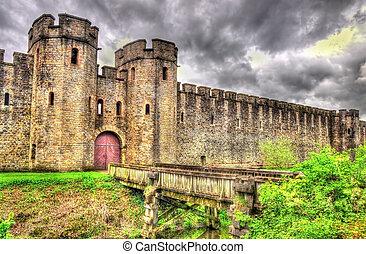 norte, puerta, de, cardiff, castillo, -, gales
