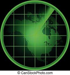 norte, radar, pantalla, américa, silueta