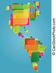 norte, sur, y, américa central, continente, mapa del mundo, hecho, de, colorido, discurso, burbujas, concepto, ilustración, plano de fondo, vector