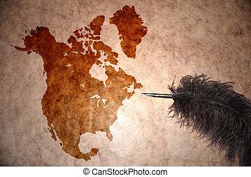 norte, vindima, mapa, américa