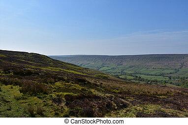 norte, vistas, páramo, yorkshire, maravilloso, inglaterra