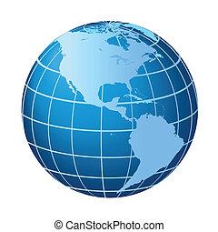 norte, y, globo de suramérica