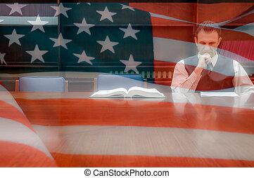 norteamericano, abogado, en, la oficina