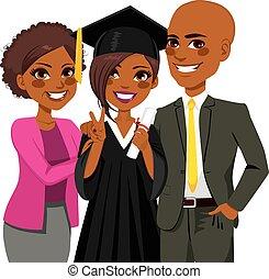 norteamericano, africano, día, graduación, familia