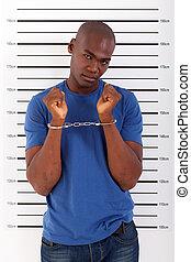 norteamericano, africano, detenido, hombre
