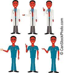 norteamericano, africano, doctor