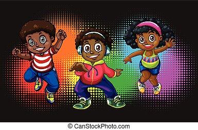 norteamericano, africano, niños, bailando