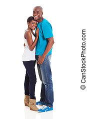 norteamericano, africano, pareja, joven