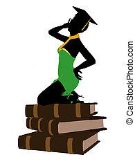 norteamericano, africano, silueta, ilustración, graduado