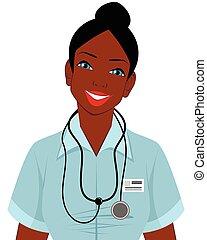 norteamericano, afro, doctor