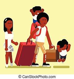 norteamericano, afro, familia
