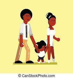 norteamericano, afro, familia joven