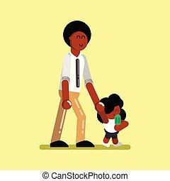 norteamericano, afro, niña