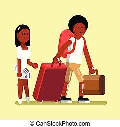 norteamericano, afro, pareja, joven