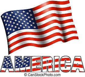 norteamericano, américa, bandera