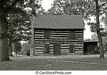 norteamericano, arquitectura, -, cabaña, 2