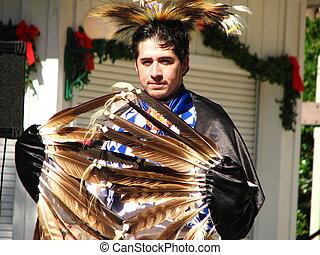 norteamericano, bailarín, nativo