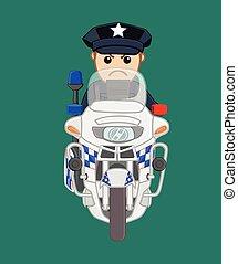 norteamericano, bicicleta, policía