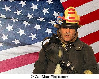 norteamericano, bombero