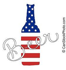 norteamericano, botella de cerveza