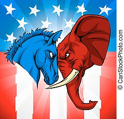norteamericano, burro, concepto, elección, elefante