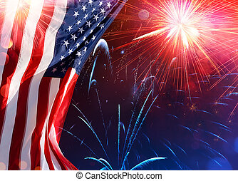 norteamericano, celebración, -, bandera de los e.e.u.u