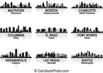 norteamericano, ciudades, contorno, 2