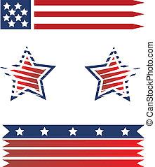 norteamericano, conjunto, banderas