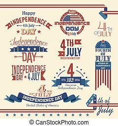 norteamericano, conjunto, día, independencia, etiqueta