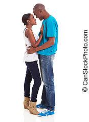norteamericano, Coquetear,  Afro, pareja
