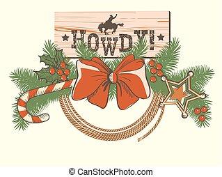 norteamericano, decoración de navidad, para, vaquero,...