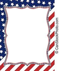 norteamericano, diseño, marco, themed