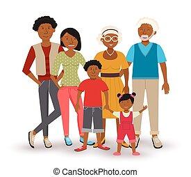 norteamericano, familia feliz, ilustración, africano
