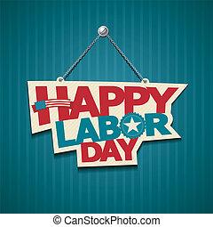 norteamericano, feliz, día, trabajo