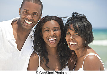 norteamericano, feliz, playa, familia , africano
