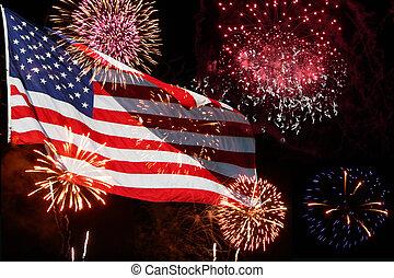 norteamericano, fuegos artificiales, -, bandera