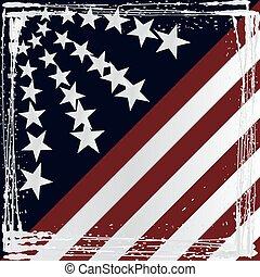 norteamericano, grunge, bandera, vector., style.