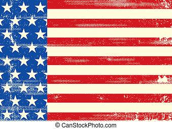 norteamericano, horizontal, grunge, bandera