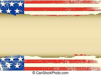 norteamericano, horizontal, rasguñado, bandera