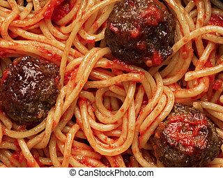 norteamericano, italiano, albóndiga, espaguetis, fondo alimento