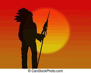 norteamericano, jefe, nativo