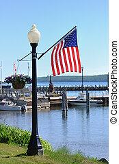 norteamericano, lamppost, bandera