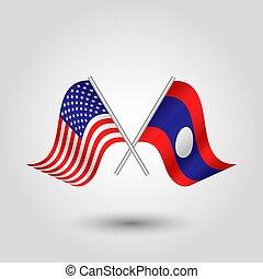 norteamericano, laos, palos, estados, dos, vector, símbolo, plata, -, unido, banderas, américa, laosiano, cruzado