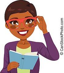 norteamericano, libro, lectura, niña, africano