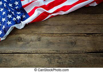 norteamericano, madera, bandera, plano de fondo