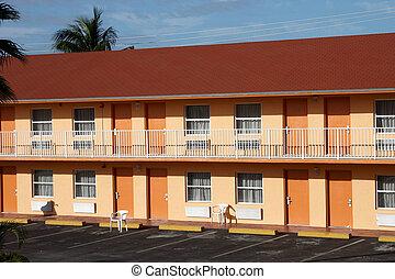 norteamericano, motel, típico