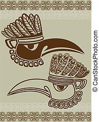 norteamericano, nativo, máscara, cuervo