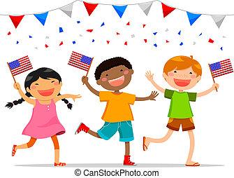 norteamericano, niños