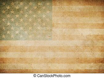 norteamericano, o, estados unidos de américa, viejo, bandera de papel, plano de fondo