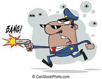 norteamericano, oficial de policía, africano